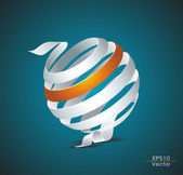 Abstract sphere made from colorful stripes — Stock Vector