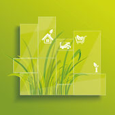 Environment concept. Grass behind the glass. — Vector de stock