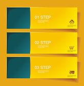 Set di bannerss passo 1 2 3 con diverso ombra. — Vettoriale Stock