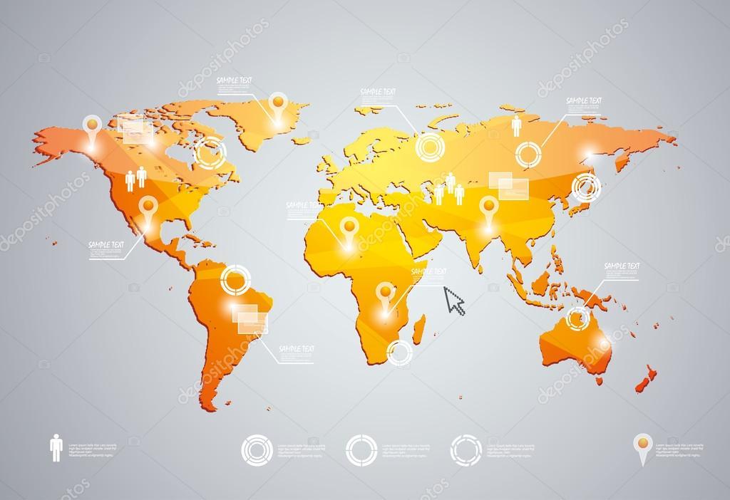 3d 矢量世界地图插画和信息图形设计模板
