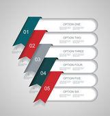 Vector pasos líneas, banderas de progreso con las etiquetas coloridas. — Vector de stock