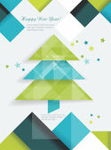 Christmas tree and decorations on winter background. — Vetor de Stock
