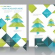 Christmas tree and decorations on winter background. — Vector de stock #34980135