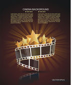 Film strip roll with gold stars. Vector cinema background. — Stock Vector