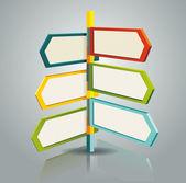 Diagrammvorlage von multidirektionalen zeiger auf ein schild — Stockvektor