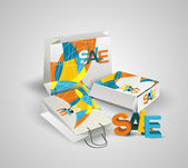 Sale Tag, Paper Bags and Box with 3d letters SALE. — Stock Vector