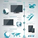 Modern infographic, timeline, mobile shopping concept. — Stock Vector