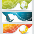 Collection banner design with glass balls and globe — Stock Vector