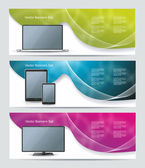 Collection banner design with smart phone, tablet pc, laptop and — Stock Vector