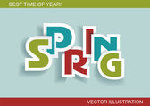 Spring word, plain and pure design — Stock Vector