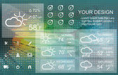 Weather widget and icons on floral background — Stock Vector