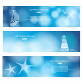 Travel and Nautical - blue awesome banners. — Stock Vector