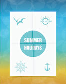 Summer Label on Folded paper, vector — Vector de stock