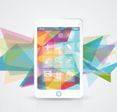 Perfectly detailed modern smart phone with geometric  background — 图库矢量图片