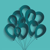 Birthday card with paper ballons  — Wektor stockowy