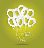 Birthday card with paper ballons — Stock Vector