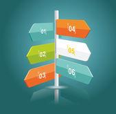 Punteros multidireccionales sobre una señal — Vector de stock