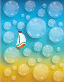Transparent water drops background, tourism and journey vacation — Stockvector