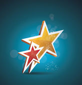Two gold stars. 100 percent satisfaction guarantee. — Vector de stock