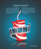 Cinema roll and cardboard cup with a straw on blue defocus backg — Stockvector