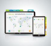 Realistico computer tablet vettore, monitor e cellulare — Vettoriale Stock