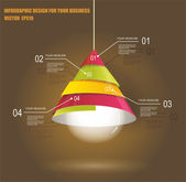 Iinfographic Template with Light bulb  — Stock Vector