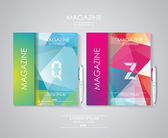 Magazine cover set with pattern of geometric shapes — Vector de stock