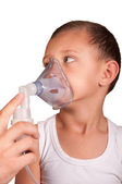 Little boy in the mask of the inhaler — Stock Photo