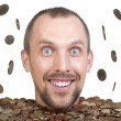 Stock Photo: Head of min heap of euro coins