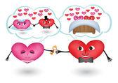 Dreams of loving hearts — Stock Vector