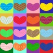Colorful hearts with different textures — Stock Vector