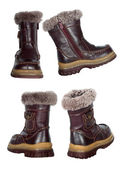 Collage of children's winter boots — Stock Photo