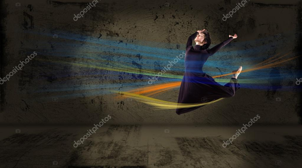 Dancer jumping , on an abstract background. collage  Stock Photo #13939081