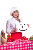 Attractive cook woman a over white background — Stock Photo