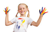 Girl with painted hands — Stock Photo