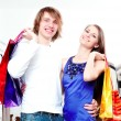 Stock Photo: Shopping smile couple at mall