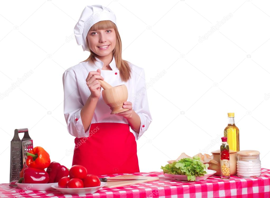 Attractive woman making a meal, white background — Stockfoto #16218701