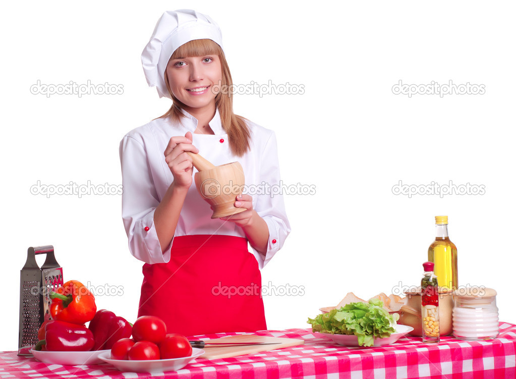 Attractive woman making a meal, white background — Lizenzfreies Foto #16218701