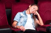 Mulher no cinema — Foto Stock