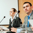 Businessmen communicate at conference — Stock Photo #16483981