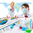 Collage with scientist in laboratory — Stock Photo #16498111