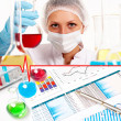 Collage with scientist in laboratory — Stock Photo #16498209