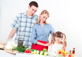 Portrait of family cook together — Stock Photo