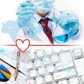 Collage con científico en el laboratorio — Foto de Stock