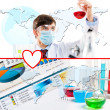 Collage with scientist in laboratory — Stock Photo #16508303