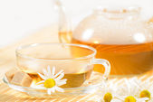 Teacup with herbal chamomile tea — ストック写真