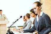Businessmen talking at the conference — Stock Photo