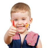 Boy with painted hands — Stock Photo