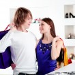 Shopping smile couple at mall — Stock Photo #17397949