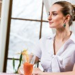Portrait of a nice lady in a restaurant — Stock Photo